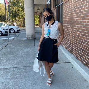 TED BAKER flared textured black mini skirt SZ 4